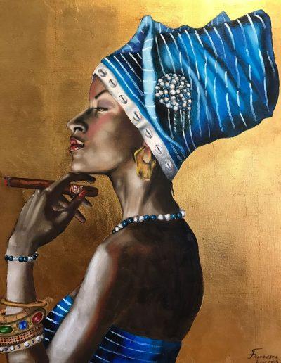 Retrato de una mujer con un cigarrillo. Inspiración